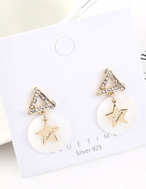 Fashion 14k Gold Resin Star With Diamonds Earrings