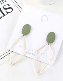 Fashion Green Frosted Hollow Geometry Earrings