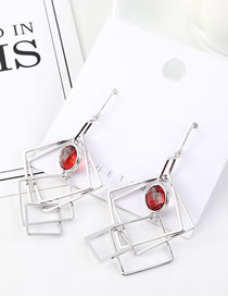 Fashion Platinum Irregular Square Glass Beads Earrings