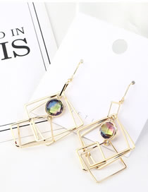Fashion 14k Gold Irregular Square Glass Beads Earrings