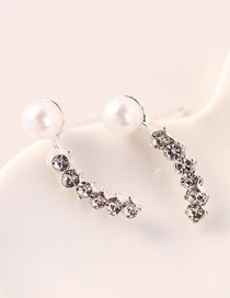 Fashion Platinum Pearl Stud Earrings With Diamonds