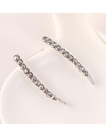 Fashion White K Single Row Crescent Diamond Stud Earrings