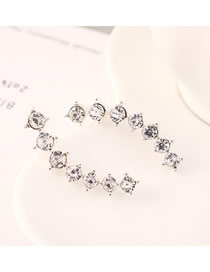 Fashion Platinum Small Crescent Diamond Stud Earrings