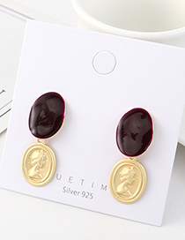 Fashion Golden Embossed Man Head Painting Oil Earrings