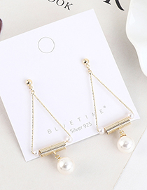 Fashion Golden Gold-plated Pearl Cutout Spring Geometric Earrings