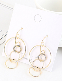 Fashion Golden Gold-plated Pierced Earrings With Diamonds