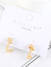 Fashion Dumb Gold Gold-plated Twist Rope Knot Earrings