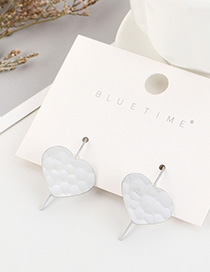Fashion Dumb Silver Gold Plated Irregular Concave Heart Earrings