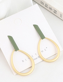 Fashion Green Gold Plated Frosted Cutout Hoop Earrings