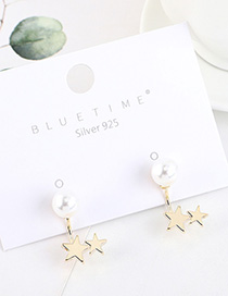 Fashion Golden Gold-plated Pearl Star Earrings