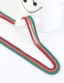 Fashion Green + Pink + Red Snake Chain Contrast Color Stitching Solid Sweater Chain