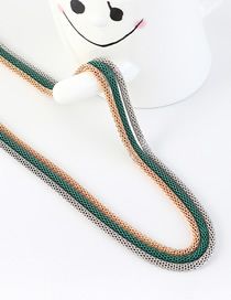Fashion Gold + Green + Silver Snake Chain Contrast Color Stitching Solid Sweater Chain