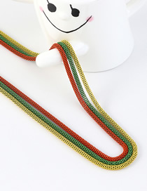 Fashion Orange + Green + Yellow Snake Chain Contrast Color Stitching Solid Sweater Chain