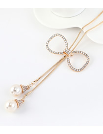 Fashion Champagne Gold Bow Knot Pearl Sweater Chain