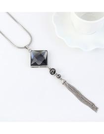 Fashion Platinum Tassel Sweater Chain With Diamonds