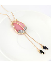 Fashion Pink Resin Cutout Sweater Chain With Diamond Buds