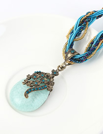 Fashion Sea Blue Resin Rhinestone Geometric Bead Necklace