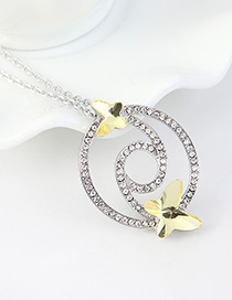 Fashion Pale Yellow Diamond And Butterfly Double Cutout Geometric Necklace