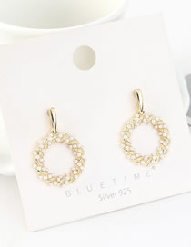 Fashion 14k Gold S925 Silver Pin Plated Pearl Earrings