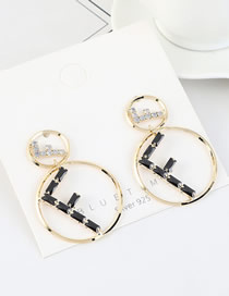 Fashion 14k Gold S925 Silver Pin Large Gold Plated Diamond Earrings