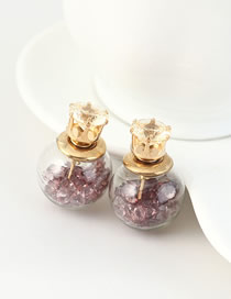 Fashion Purple Gold-plated Earrings With Rhinestones