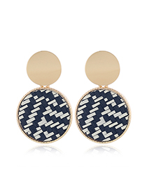 Fashion Black And White Contrast Woven Geometric Round Alloy Stud Earrings