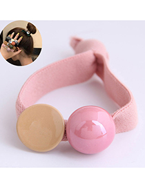 Fashion Pink Geometric Ball Contrasting Wide Elastic Rubber Band