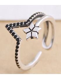 Fashion Silver Pentagram Irregular Cutout Ring