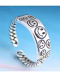 Fashion Silver Embossed Smiley Open Ring