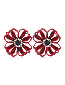 Fashion Red Diamond Pierced Flower Earrings