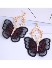 Fashion Black Embroidered Butterfly And Diamond Earrings