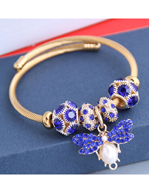 Fashion Royal Blue Diamond Bee Alloy Bracelet