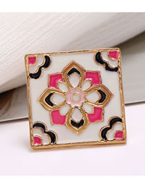 Fashion Purple Square Oil Drop Flower Alloy Collar Buckle Brooch