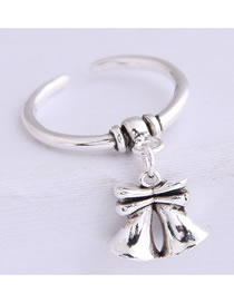 Fashion Silver Bell Alloy Relief Open Ring