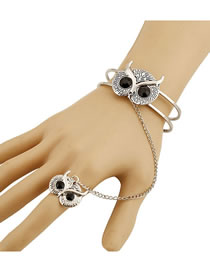 Fashion Silver Owl Opening Hollow Chain Ring Bracelet