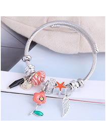 Fashion Red Droplet Oil Flower Alloy Wings Geometric Bracelet