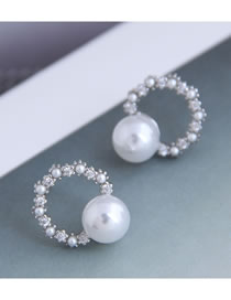 Fashion Silver Micro-set Zircon Pearl Round Earrings