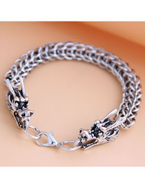 Fashion Silver Auspicious Dragon Alloy Thick Chain Hollow Mens Bracelet