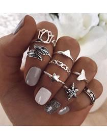 Fashion Silver Starfish Love Flower Alloy Geometric Ring Set