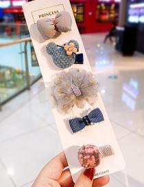 Fashion Gray Bow Mesh Gauze And Diamond Mickey Head Children's Hair Clip Set