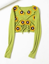 Fashion Fruit Green V-neck Drawstring Embroidered Flower Short Sweater