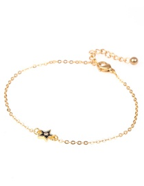 Fashion Golden Pendant Stainless Steel Bracelet With Dripping Diamonds