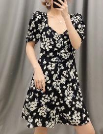 Fashion Black V-neck Dress With Daisy Print