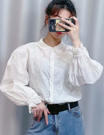 Fashion White Embroidered Poplin Single-breasted Shirt