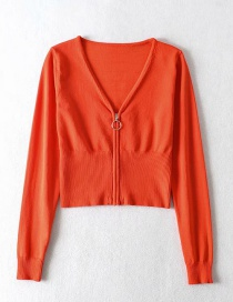 Fashion Orange V-neck Zipper Long Sleeve Knit