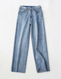 Fashion Blue Washed Raw High-rise Mop Jeans