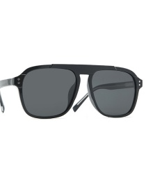 Fashion Black Frame Black Gray Day And Night Color Changing Polarizer Ferrule Leg Sunglasses