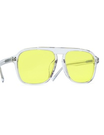 Fashion Yellow Frame Day And Night Color Changing Polarizer Ferrule Leg Sunglasses