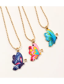 Fashion Color Mixing Dripping Color Butterfly Ball Bead Alloy Necklace Set