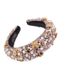 Fashion Pink Yellow + White Corduroy Alloy Crystal Beads With Pearl Headband